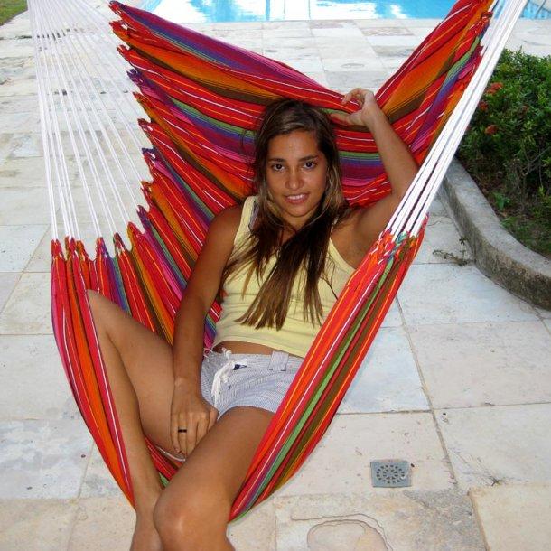 Hængekøjestol i gylden farvemix Guatemala Textil