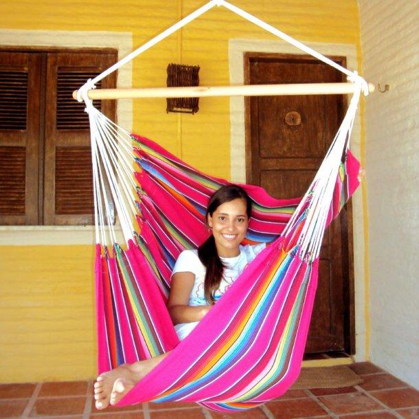 Hængekøjestol i pink farvemix. Mexico PINK stof