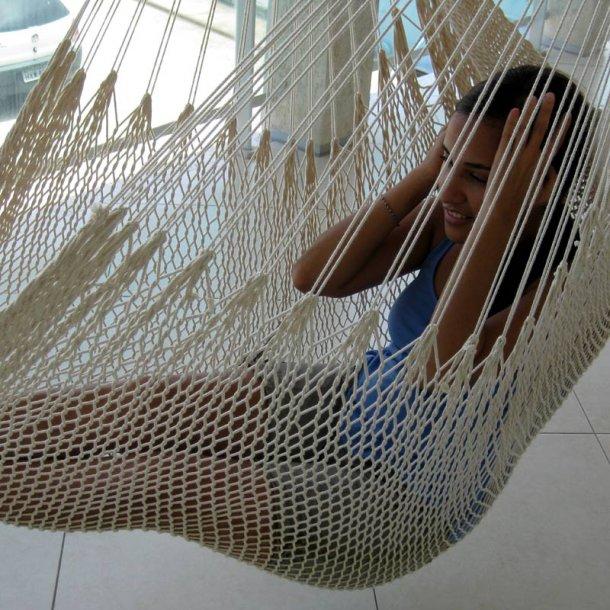 Populær Hængekøjestol i naturhvidt Net af bomuld