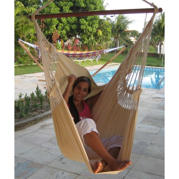 Trendy Hængekøjestol i enkelt naturhvidt stof