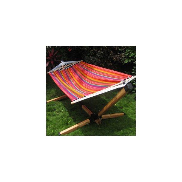 Completto hængekøjestativ og farverig hængekøje med tværpind