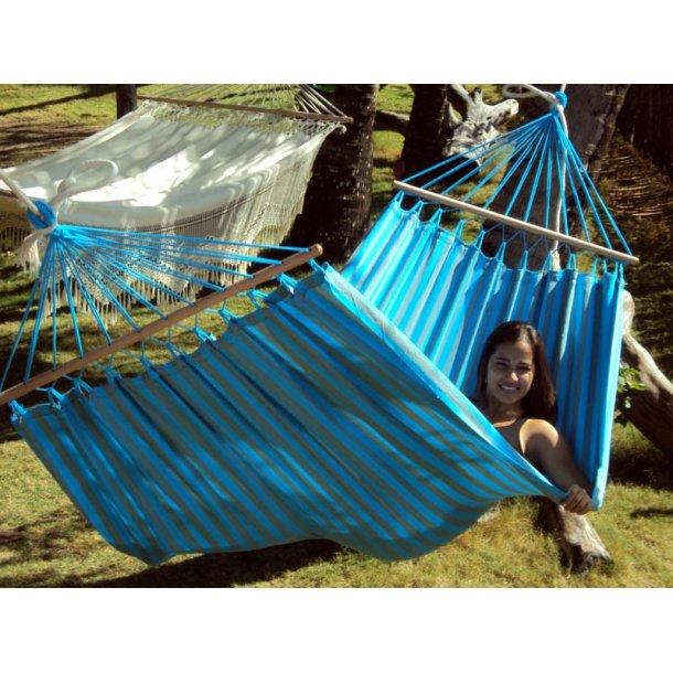 Turkis og GråGrøn outdoor PRO hængekøje med 120 cm træstokke i høj kvalitet